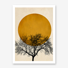 Illustration print by Kubistika, with black tree and mustard sun, on textured beige background.