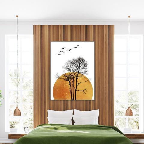 Illustration poster print by Kubistika, with large sun, and black tree and birds, on white background; in bedroom