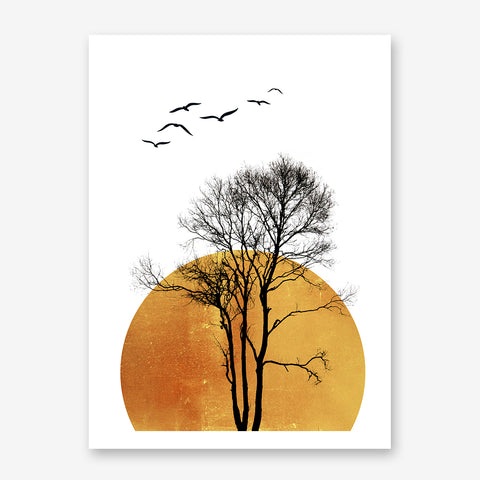 Illustration poster print by Kubistika, with large sun, and black tree and birds, on white background