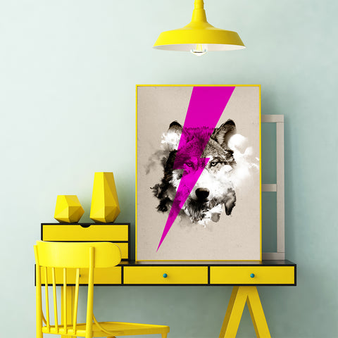 Poster print by Robert Farkas, with a neon pink thunder over a wolf's portrait, in office