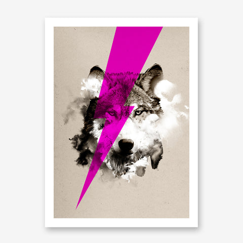 Poster print by Robert Farkas, with a neon pink thunder over a wolf's portrait.