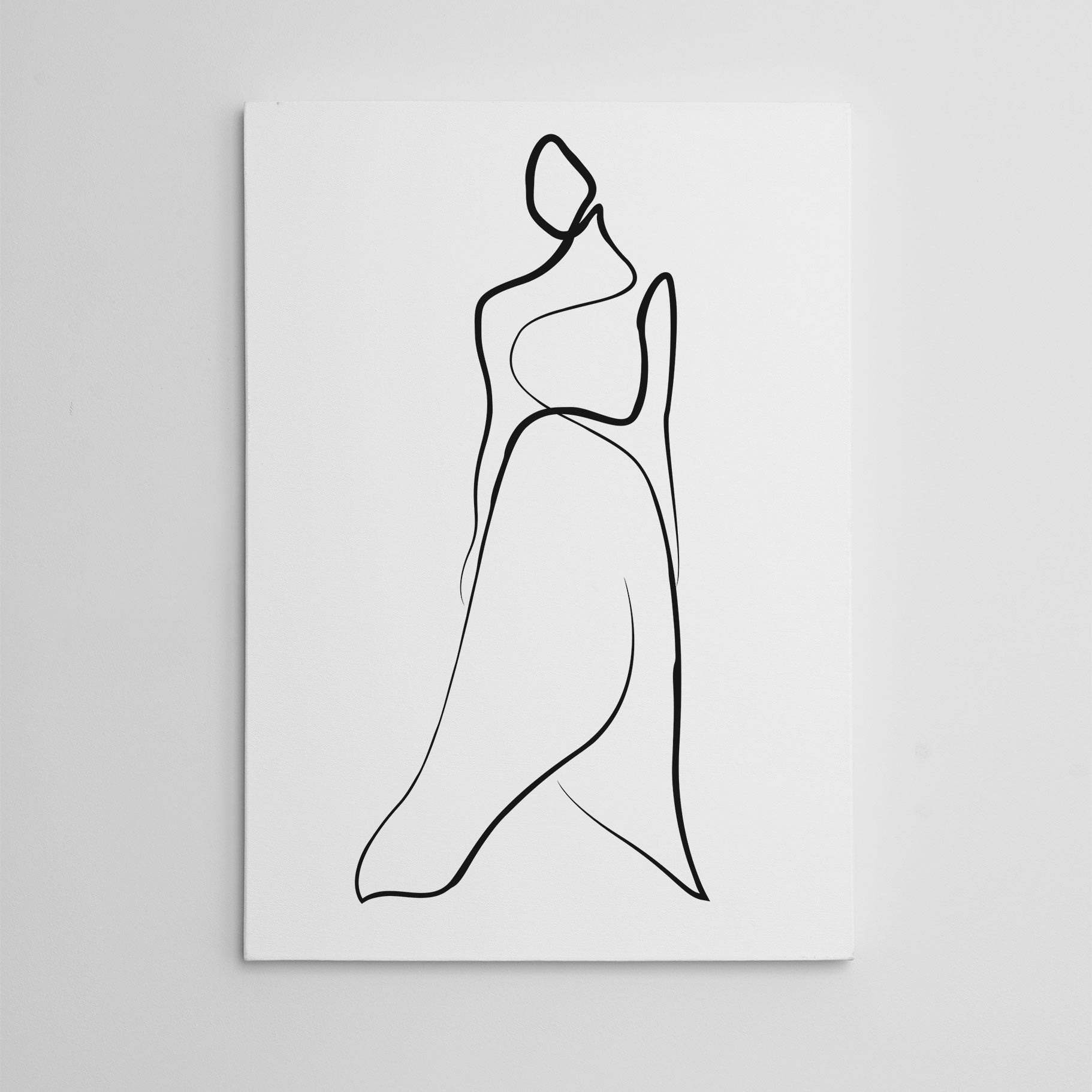 Abstract line art canvas print with a woman with long dress.