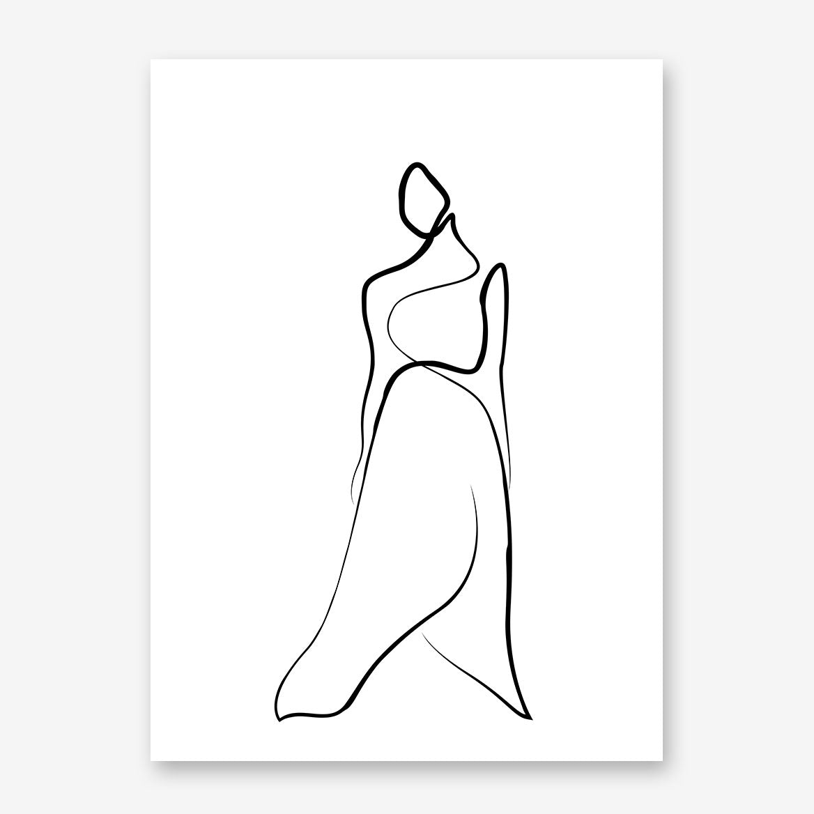 Abstract line art poster print with a woman wearing a long dress.