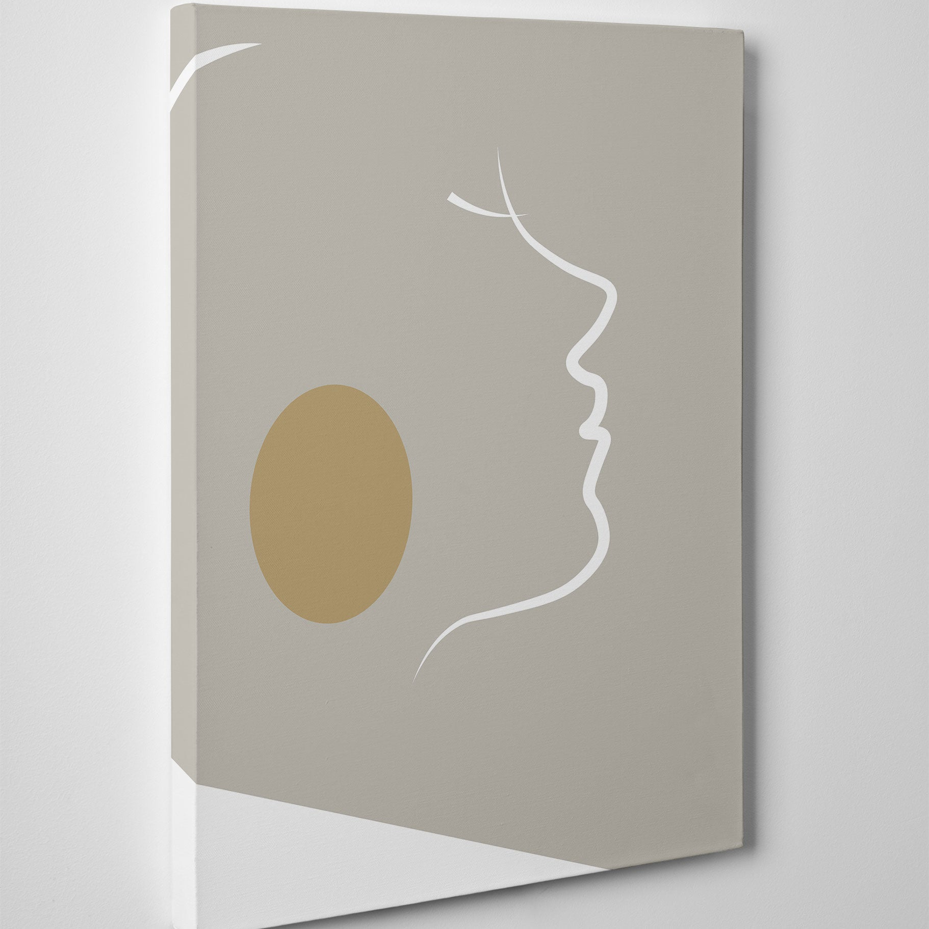Abstract canvas print with white lines woman's portrait on grey background - side view