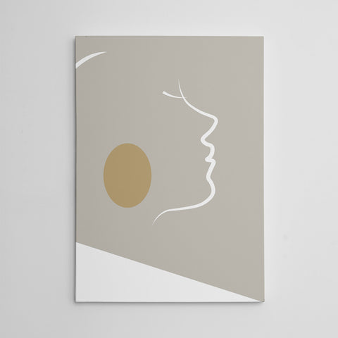 Abstract canvas print with white lines woman's portrait on grey background.