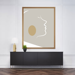 Abstract poster print with white lines woman's portrait on grey background - framed view