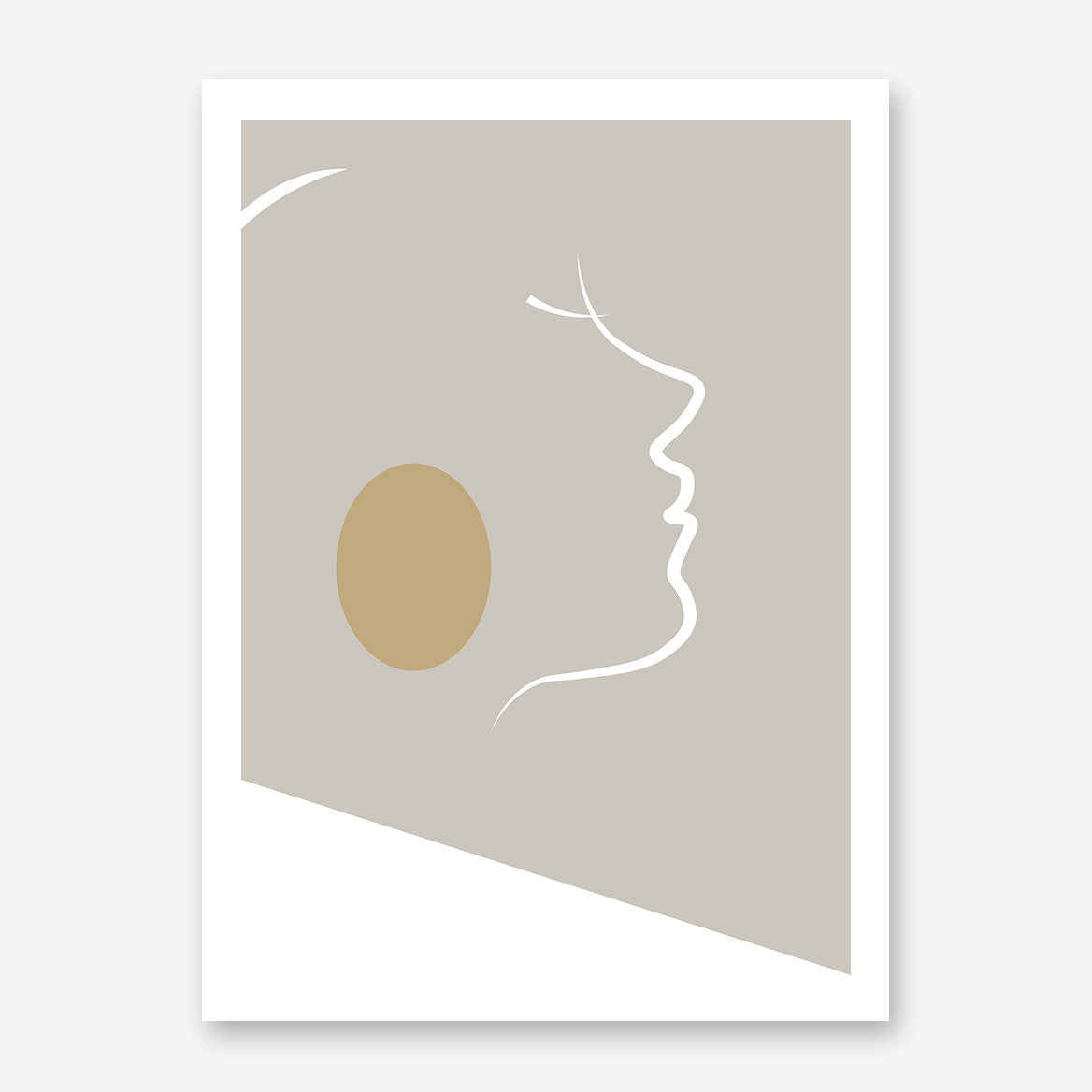 Abstract poster print with white lines woman's portrait on grey background.
