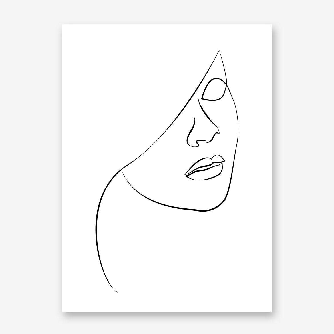 Beautiful line art poster print with a woman's portrait.