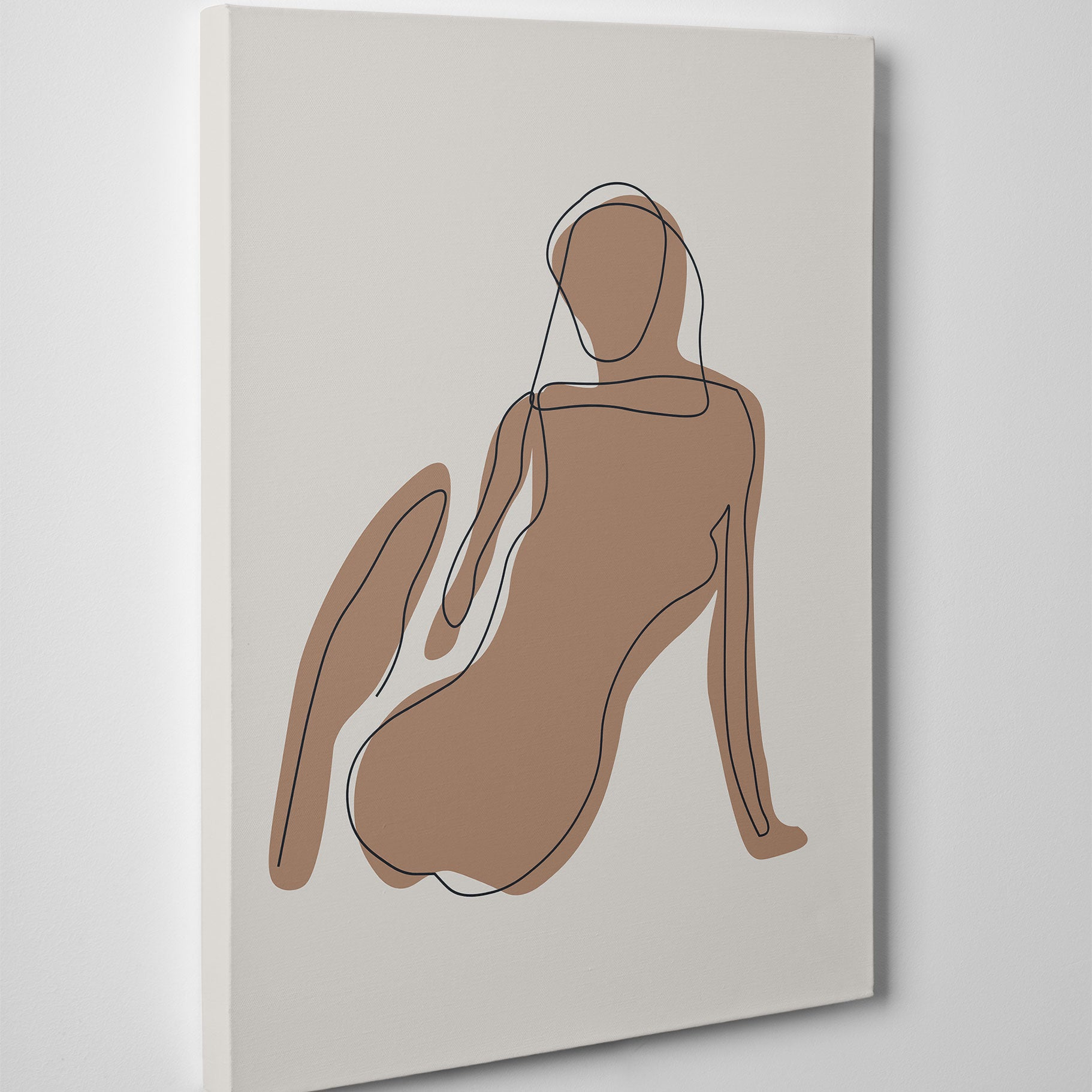 Black line art canvas print with a woman on natural tones - side view