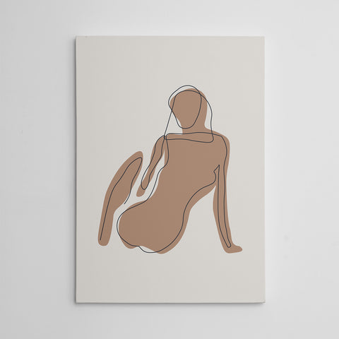 Black line art canvas print with a woman on natural tones.