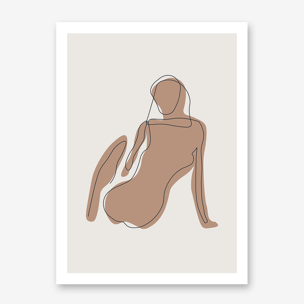 Black line art poster print with a woman on natural tones.