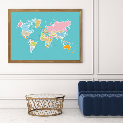 Illustration print with colourful world map, on blue background, in living room