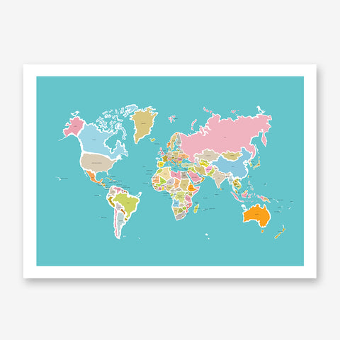 Illustration print with colourful world map, on blue background