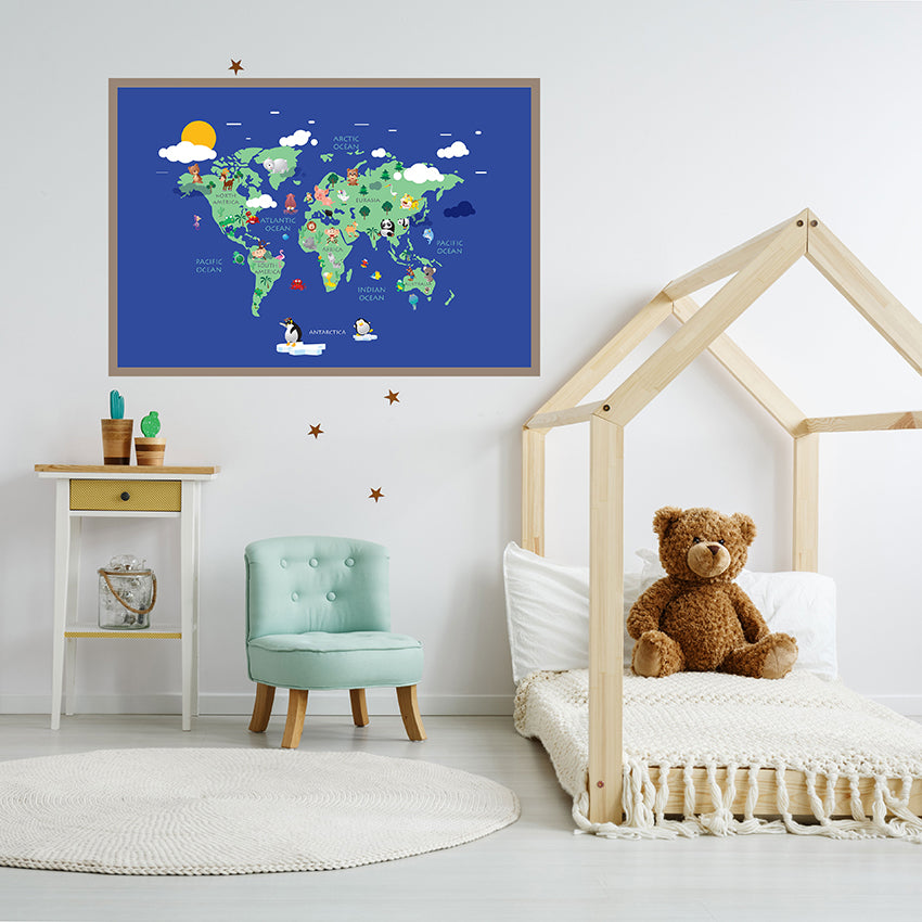 Blue world map poster print with colourful animals, kids room view