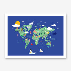 Blue world map poster print with colourful animals for kids