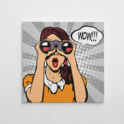 Square pop art canvas print with a girl with binoculars, on a grey background.