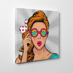 Square pop art canvas print with a girl with wow colourful sunglasses, on grey background - side view