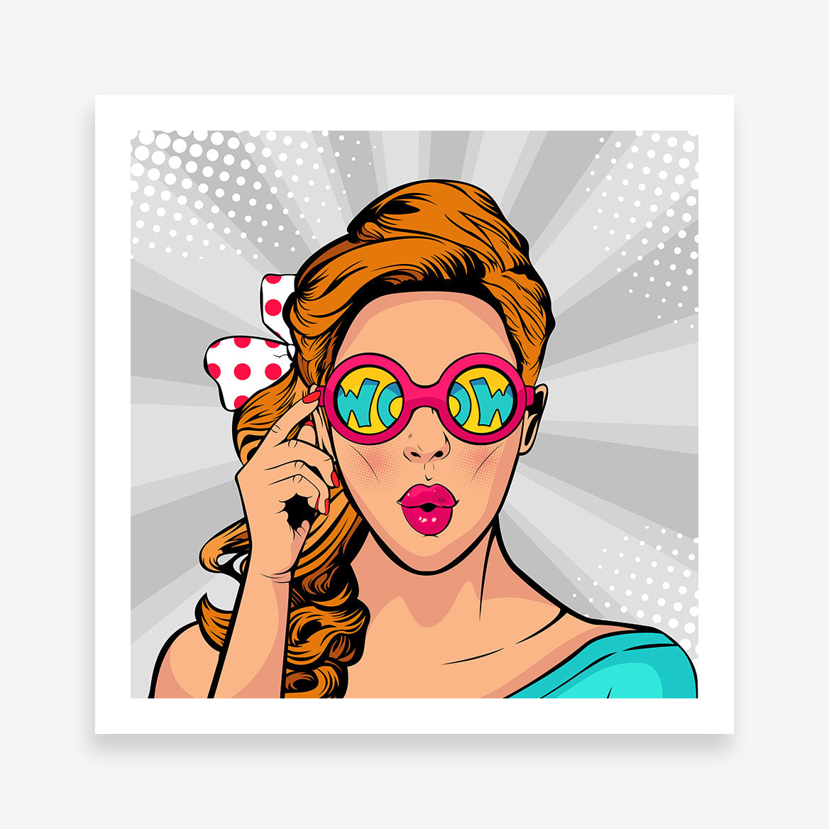 Square pop art poster print with a girl with wow colourful sunglasses, on grey background.