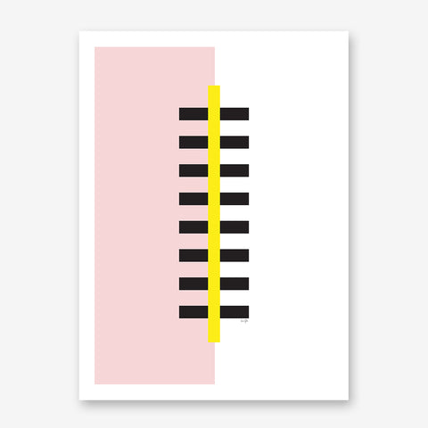 Graphic poster print by Linda Gobeta, with abstract yellow and black skyscraper, on pink and white background.