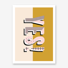 Typography poster print by Linda Gobeta, with ''YES!'' patterned in pink and black, on half mustard, half light pink background