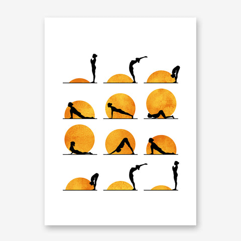 Illustration poster print by Kubistika, with sun and yoga poses, on white background.