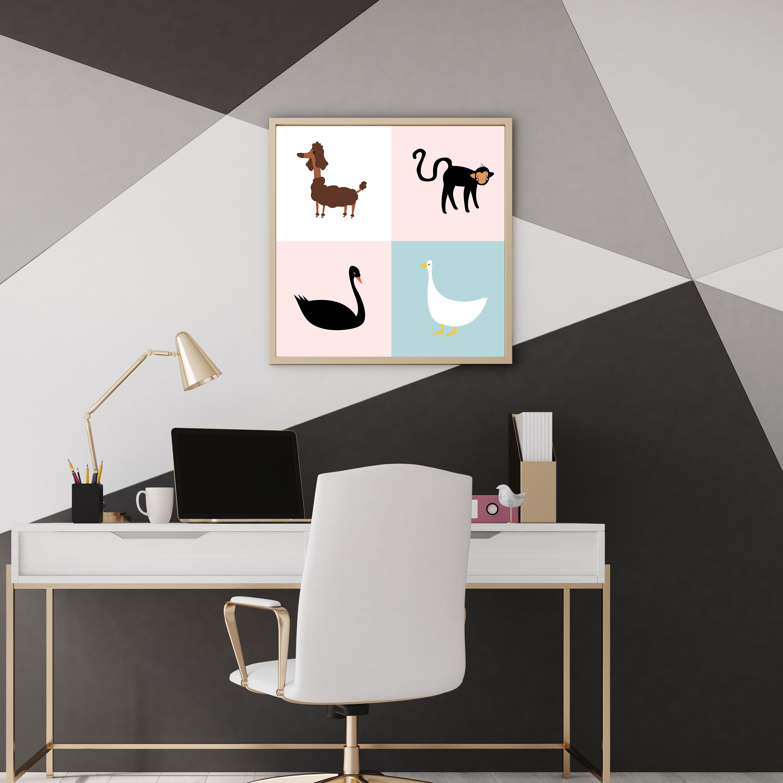 Colourful squares poster print with a black swan, a white goose, a brown dog and a black monkey - wall view