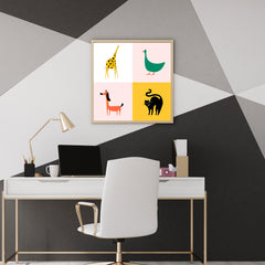 Colourful squares poster print with a yellow giraffe, a green goose, a red dog and a black cat - wall view