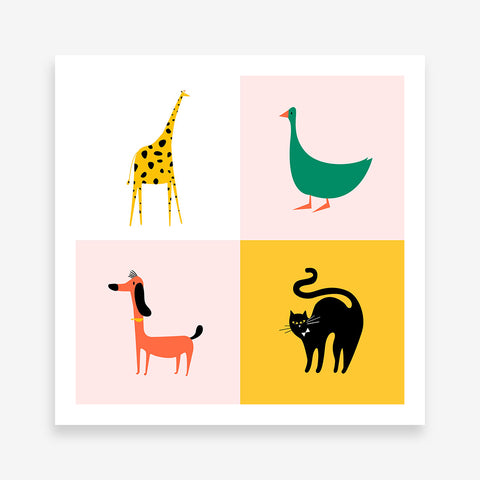 Colourful squares poster print with a yellow giraffe, a green goose, a red dog and a black cat