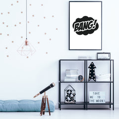 "Typography poster print, with Superheroes inspired word ""Bang"", framed"