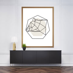 Geometric wall art with a bear on grey and white background