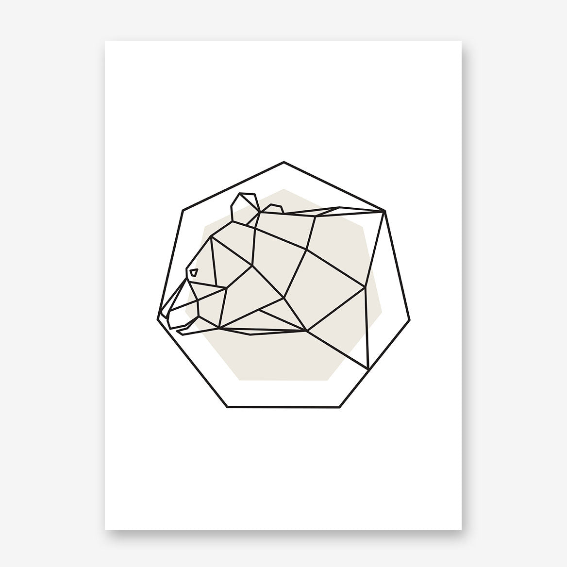 Geometric poster print with a bear on grey and white background