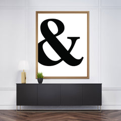 Poster print with black '&' ampersand symbol, framed