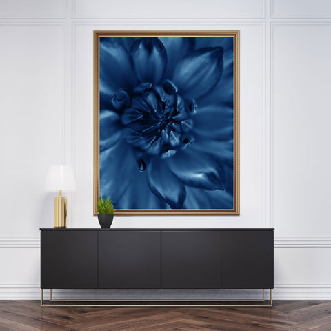 Botanical poster print, with a blue flower close-up - wall view