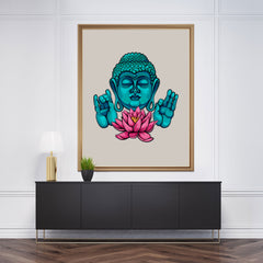 Colourful poster print with blue Buddha and pink lotus flower on a light purple background, framed