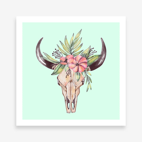 Poster print with watercolour decorated bull skull on a light blue background