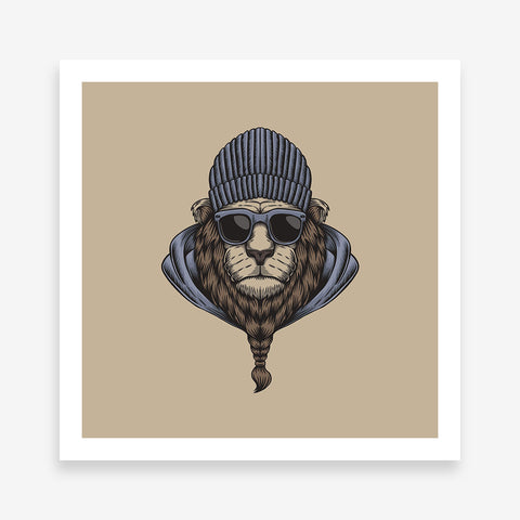 Square poster print with bearded cool lion's portrait, on brown background.