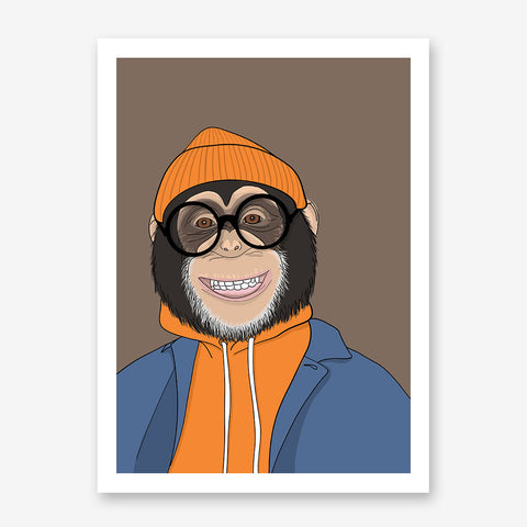 Fashion poster print with a cool dressed monkey with eyeglasses, on brown background