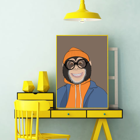 Fashion poster print with a cool dressed monkey with eyeglasses, on brown background - framed