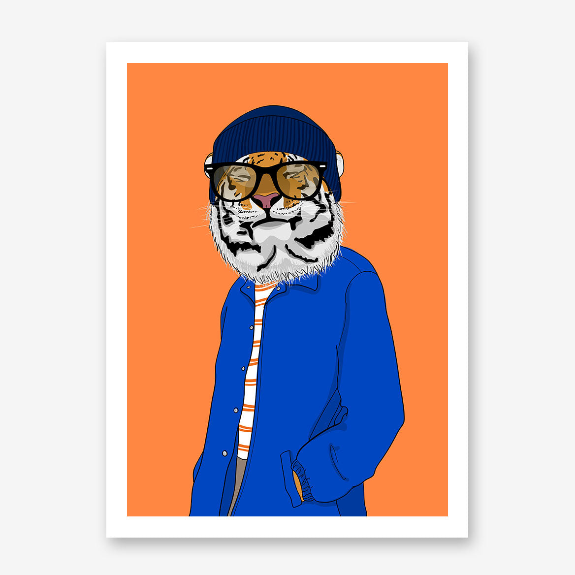 Fashion poster print with a cool dressed smiley tiger, on orange background.
