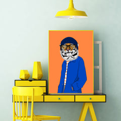 Fashion poster print with a cool dressed smiley tiger, on orange background, room view