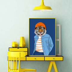 Fashion poster print with a cool dressed tiger sticking his tongue out, on blue background - room view
