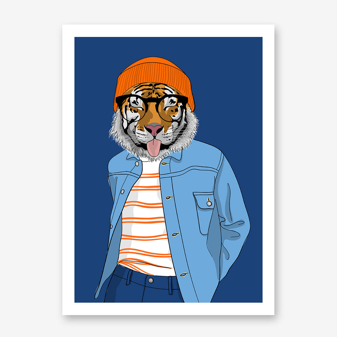 Fashion poster print with a cool dressed tiger sticking his tongue out, on blue background