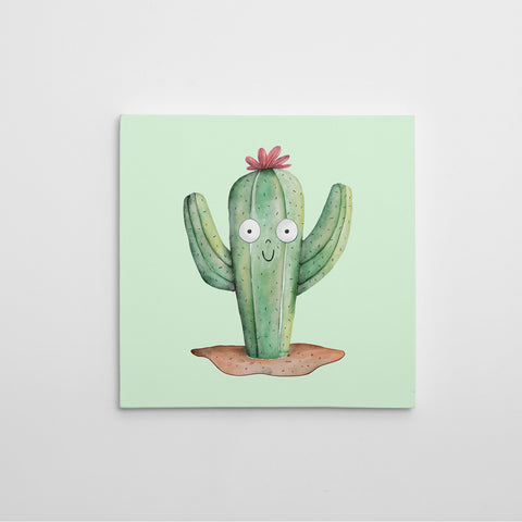 Canvas print with cute watercolour cactus on light green background.