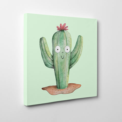 Canvas print with cute watercolour cactus on light green background - side view