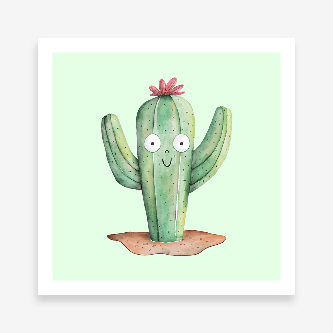 Poster print with cute watercolour cactus on light green background.