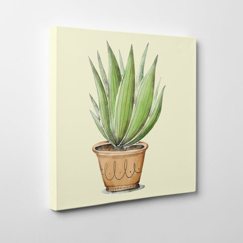 Canvas print with green potted plant on light yellow background - side view