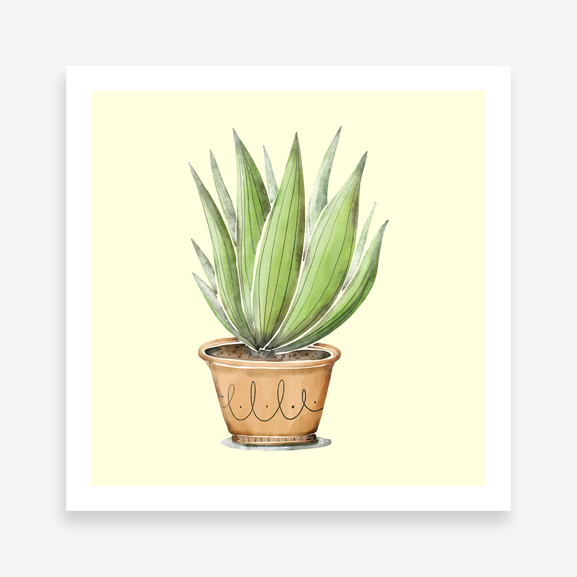 Poster print with green potted plant on light yellow background