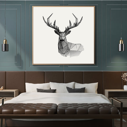 Geometric deer square poster print, on light grey background, full print view