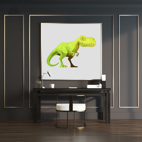 Wall art print with a cute green T-Rex dinosaur on grey background