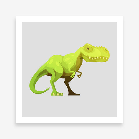 Poster print with a cute green T-Rex dinosaur on grey background